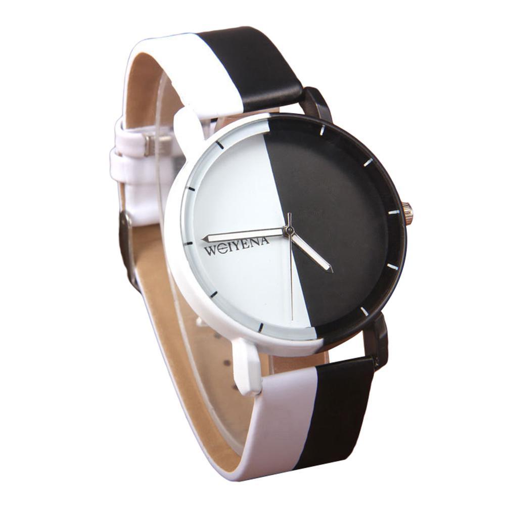 Fashion Casual Unisex Black and White Round Dial Pointer Quartz Wrist Watch