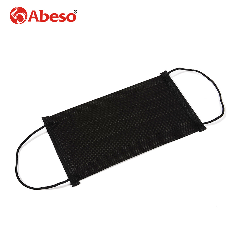 ABESO 50pcs/pack Disposable Non Woven Black Face Mask 4 Layer Medical dental Earloop Respirator Outdoor Anti-Dust Flu Surgical orthodontic reverse pull fact mask dental headgear orthodontic face mask adjustable face mask