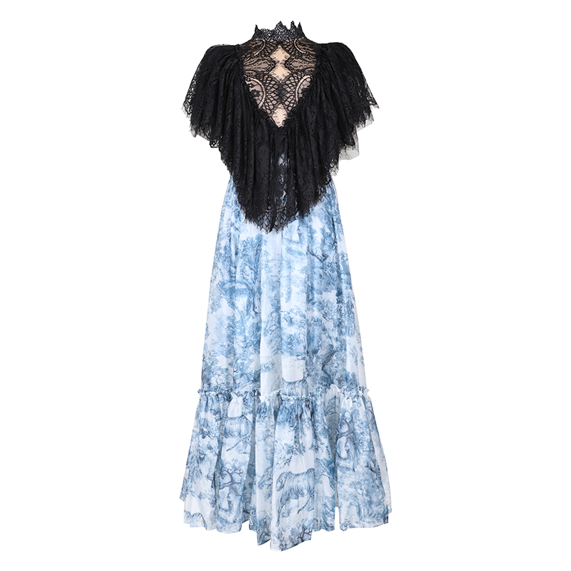 Dresses Glorious Verdejuliay Luxury Party Dresses 2019 Summer Fashion Lace Ruffles Sexy Vestido Blue Forest Animal Printed Midi Dress