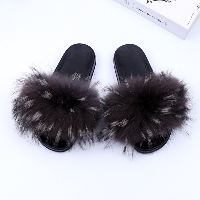 b8e2d8554 Luxury Genuine Raccoon Fur Flat Shoes Women Fashion Fur Sandal Shoes  Handmade Female Slides Indoor Outdoor Slippers