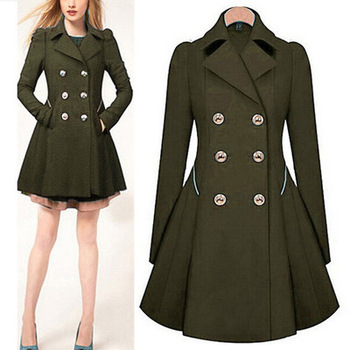 2016 New Navy green/blue/black/white fashion Women Elegant Long Double Breasted slim fit Classic Trench Coat