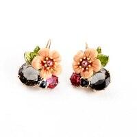 Shiny Gold Fresh Earring 2015 Summer New Arrival Bohemia Glass Enamel Flower Earring Accessories Feminine
