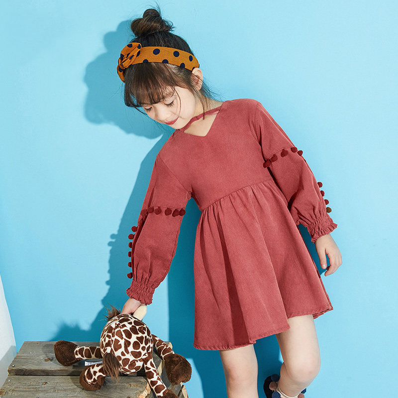2017 Autumn Colors Girls Warm Dress Saia Clothes Sweet Kids Clothes Brown Party Dresses for Age 5678910 11 12 13 14 Years Old girls dresses fruit design pineapple orange dress summer kids clothes flower print for kids age 5678910 11 12 13 14 years old