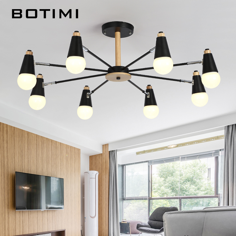 BOTIMI Modern LED Ceiling Lights For Living Room Adjustable Metal Lamparas de techo Corridor E27 Indoor Wood Lighting Fixtures modern led ceiling lights for home lighting plafon led ceiling lamp fixture for living room bedroom dining lamparas de techo