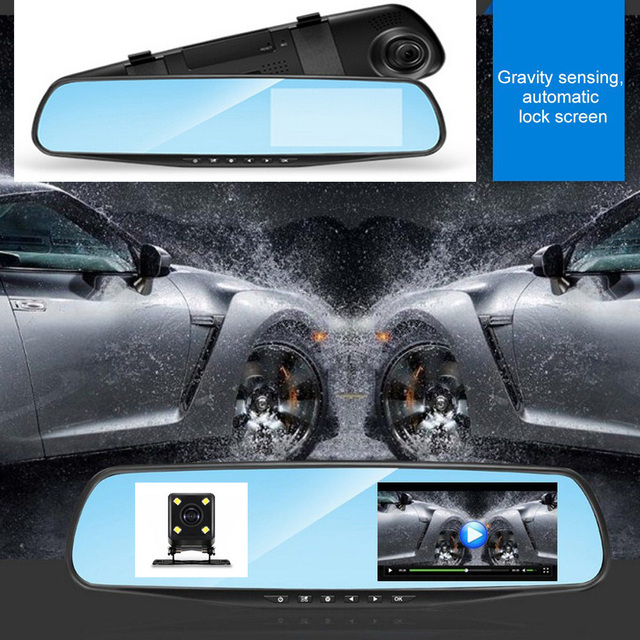 4.3 Inch 1080P HD Car DVR Mirror with Rear View Camera Night Vision Car Dash Camera Auto Driving Video Recorder