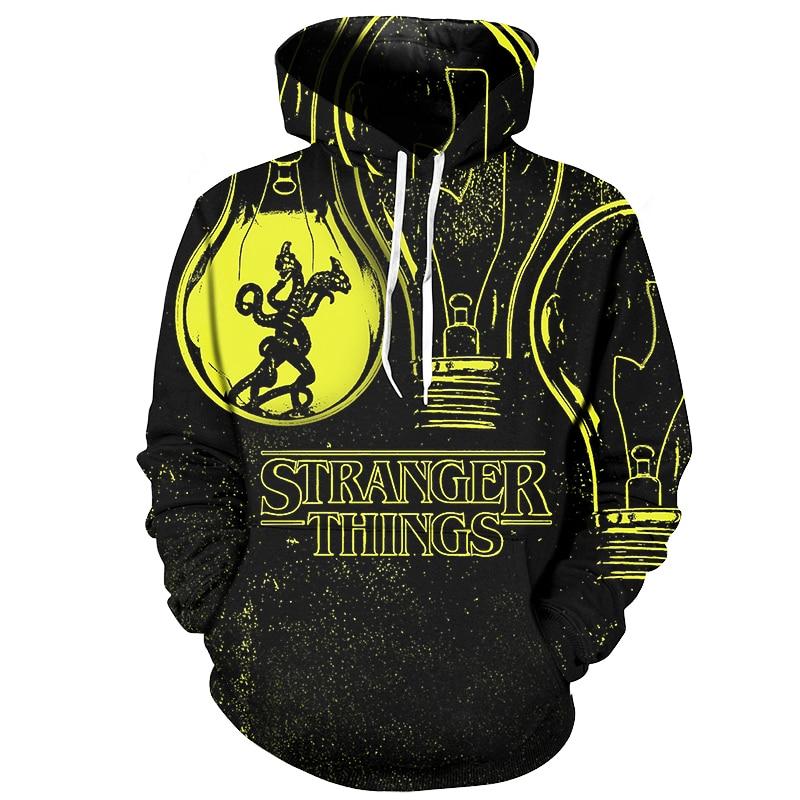 Cloudstyle 3D Anime Hoodies Men Strange Things 3D Print Fashion New Design Streetwear Pullovers Tops Sweatshirts Plus Size 5XL