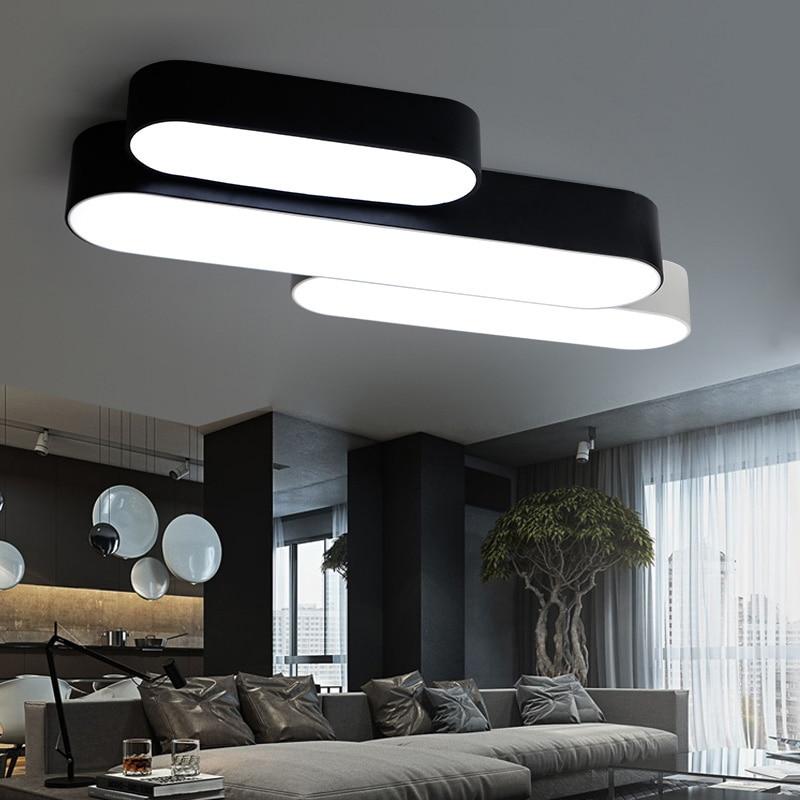 Nordic LED Ceiling Light, White / Black Iron Long Lamp, Cool / Warm White Light LED Simple Modern Lights and Remote Optional modern simple black and white iron tower
