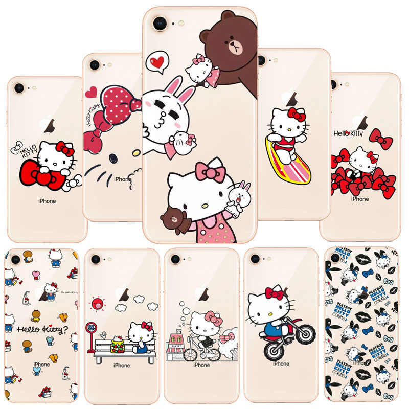 HelloKitty Olá Kitty Cat Marca NOVO Disco PC Caso Bonito Caso Moda Para iPhone 7 8 Plus X 6 6 s Plus 5S SE Fundas Coque