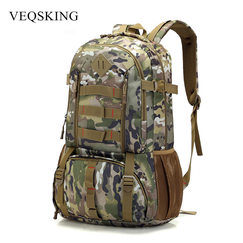 50L Waterproof Camo Tactical Backpack, Molle Military Army Bag,Hiking Hunting Backpack Tourist Rucksack Sport Bag bucbon camo tactical backpack military army mochila 50l waterproof hiking hunting backpack tourist rucksack sports bag hab037