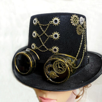 Handmade Retro Punk Unisex Party Black Hat Vintage Steampunk Gear With Gothic Goggles Top Hat Fedora