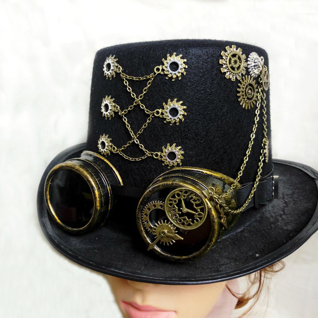 b5ea3da8c735e Handmade Retro Punk Unisex Party Black Hat Vintage Steampunk Gear With  Gothic Goggles Top Hat Fedora Hats Accessories
