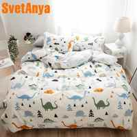 Svetanya 2019 Dinosaur Cartoon Bed Linens 100 Cotton sheet pillowcase Blanket Cover Bedding Set Single Double King size