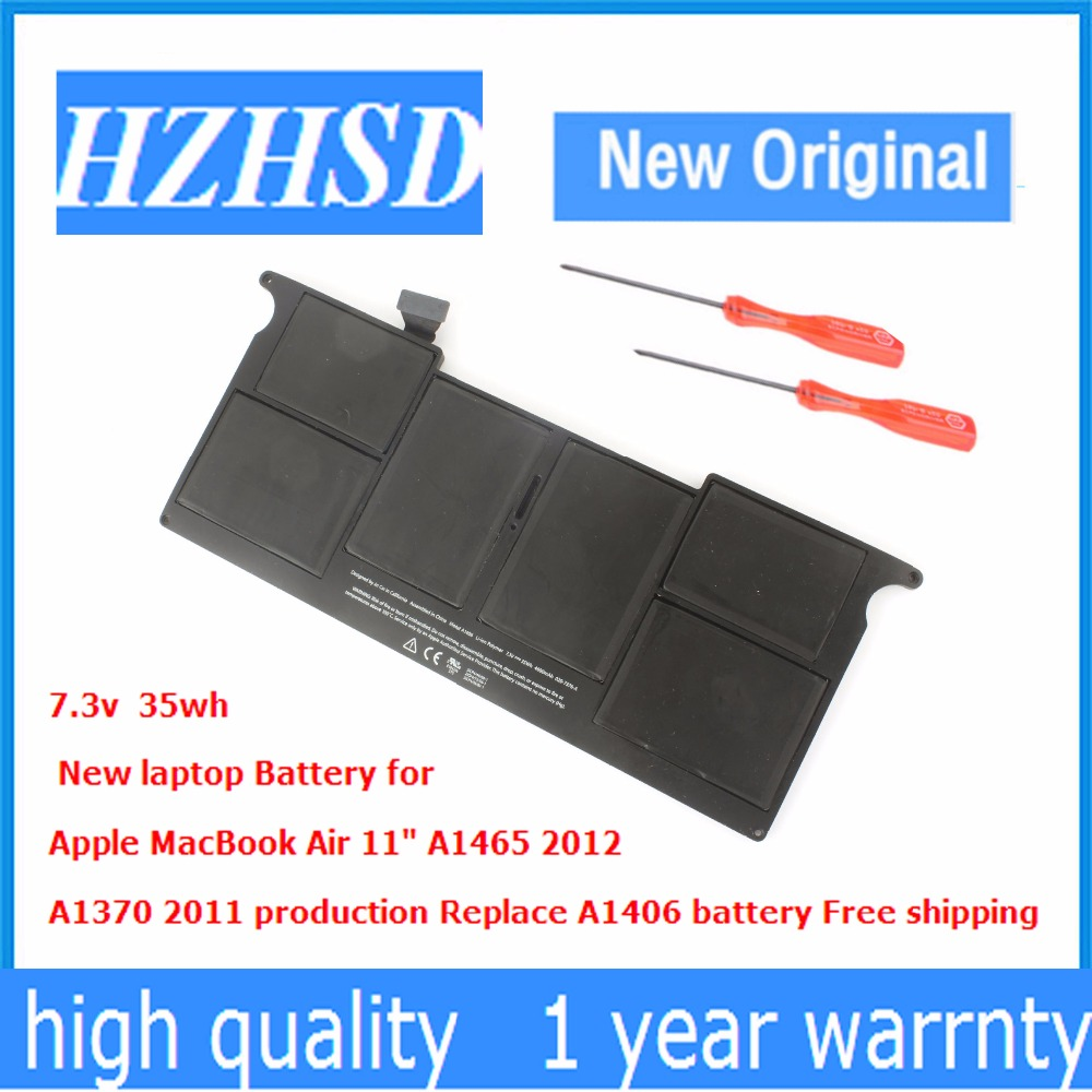 7.3v 35wh New Original A1406 laptop Battery for Apple MacBook Air 11 A1465 2012 A1370 2011 MC965 MC505