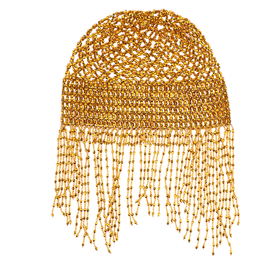 Girls Womens Exotic Cleopatra Beaded Belly Dance Head Cap Hat Hair Accessory Gold Silver Sparkling Dance Costume Accessory in Women 39 s Hair Accessories from Apparel Accessories