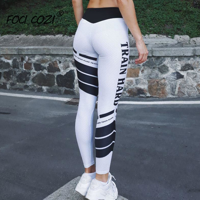 NEW STORE OPEN Spring 2019 New Fashion Clothing Workout Leggings Sports Wear For Women Gym Letter Printed Striped Leggings White