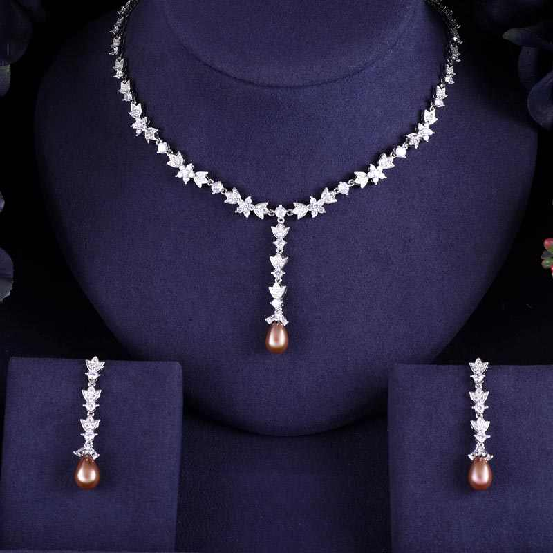 New design luxury pearl crystal zircon water drop shape necklace pendant Set  for women,high quality party/jewelry wedding