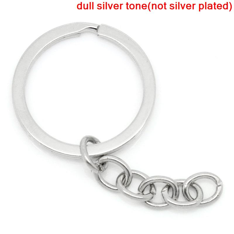 DoreenBeads Alloy Key Chains Key Rings Round Silver Tone 6.8cm(2 5/8