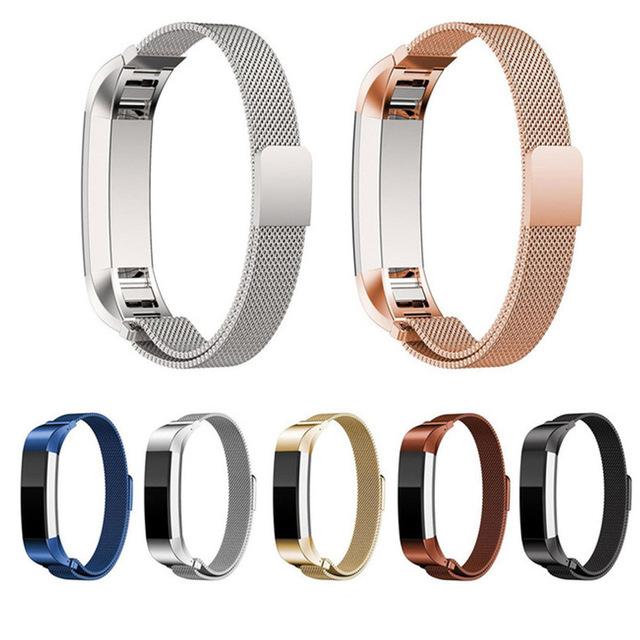 2017 nuevo para fitbit alta qulity espléndida correas de reloj de acero inoxidable negro y plata relojes correa para fitbit alta smart watch