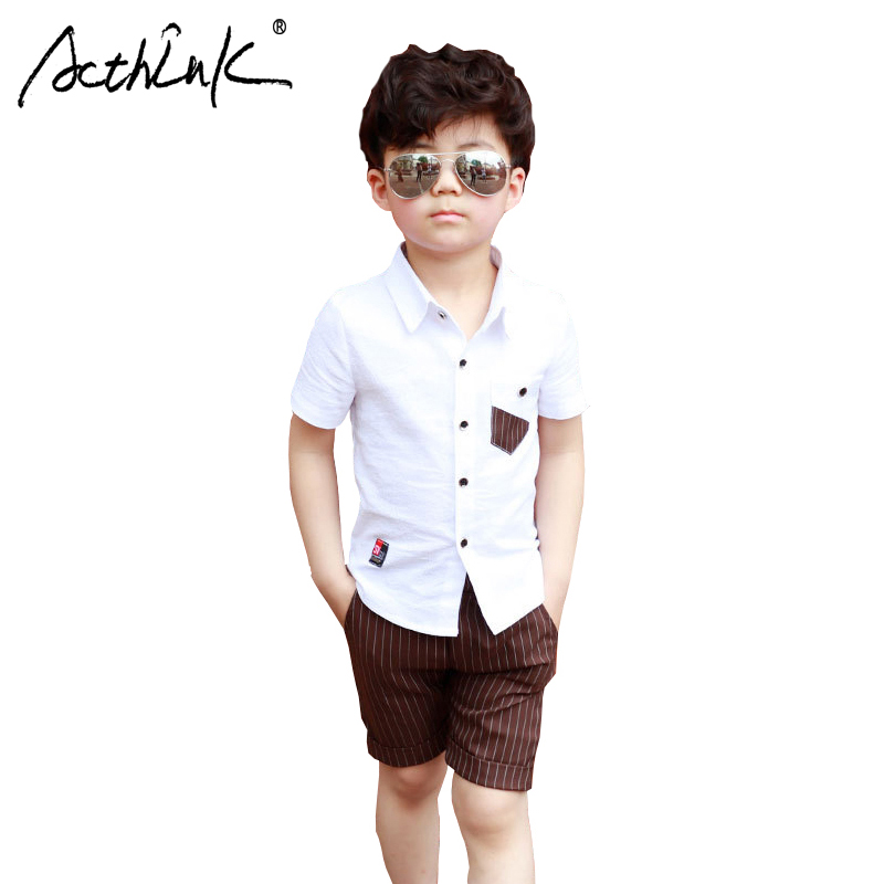 ActhInK 2019 Hot Sale 2Pcs Children Costume Boys Summer Casual Linen Suit Kids Shirts+Shorts Set For Baby