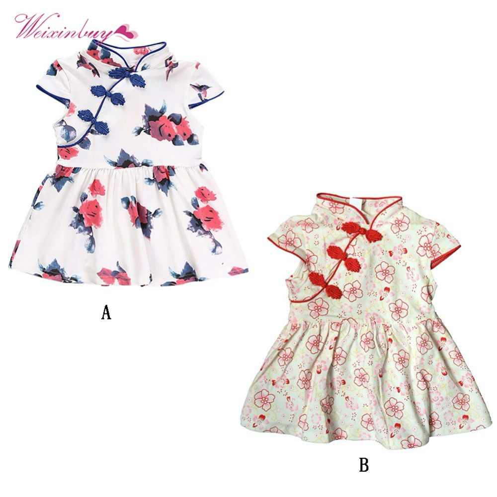 f7d0711b5ac48 BibiCola 2PCS Girl Clothes Chinese style Kids Summer Clothes Set ...