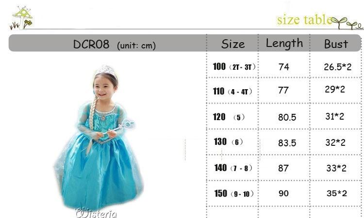 Hot Custom Anna Elsa Girls Princess Children Summer Gilrs Dress Cloth Vestidos Infants Dress Baby Dresses Children Cosplay Cloth