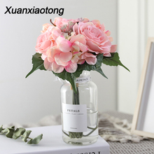 Xuanxiaotong Fake White Hydrangea Roses Bouquet Hawaii Wedding Party Flowers Decoration for Table Artificial