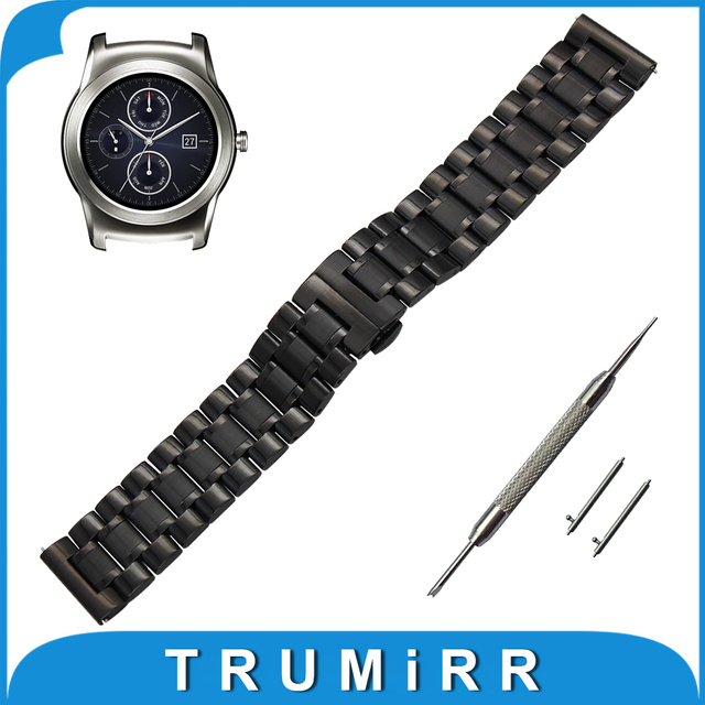22mm de acero inoxidable reloj banda para lg g watch w100/W110/W150 Urbano Correa de Liberación Rápida Correa De La Muñeca de La Mariposa Broche pulsera
