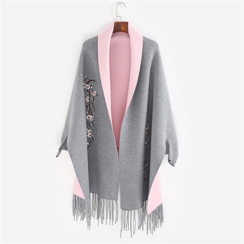Осень 2017 г. и Новинка зимы женский шарф, шаль пашмины кисточкой кардиган вышивка сливы женщина с длинным рукавом куртка-плащ