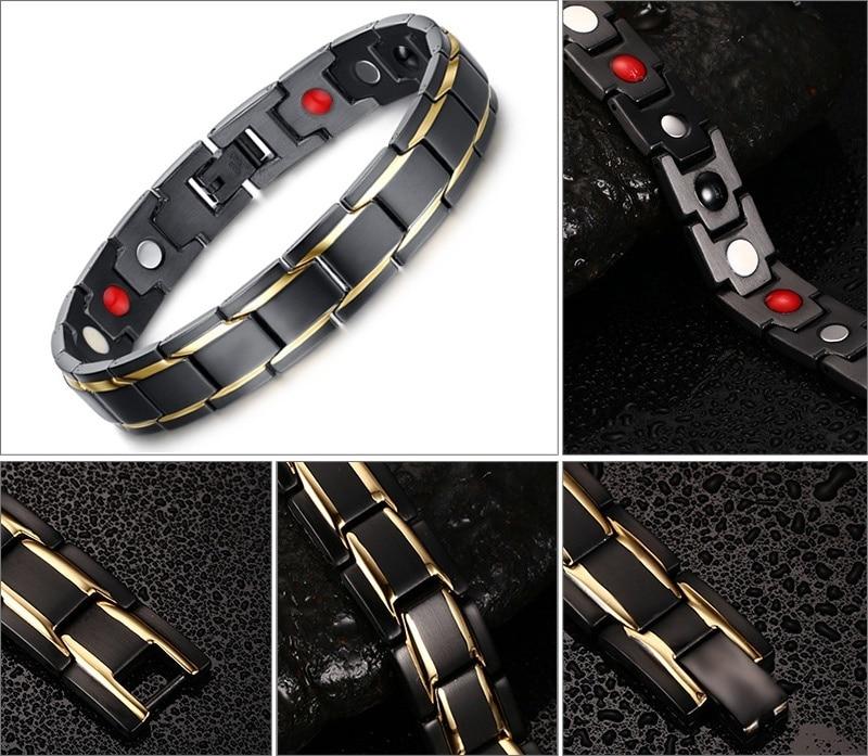 2019 Bracelet pour hommes en énergie de santé Bracelet pour arthrite Germanium poudre néodyme aimant Bracelet bijoux de santé