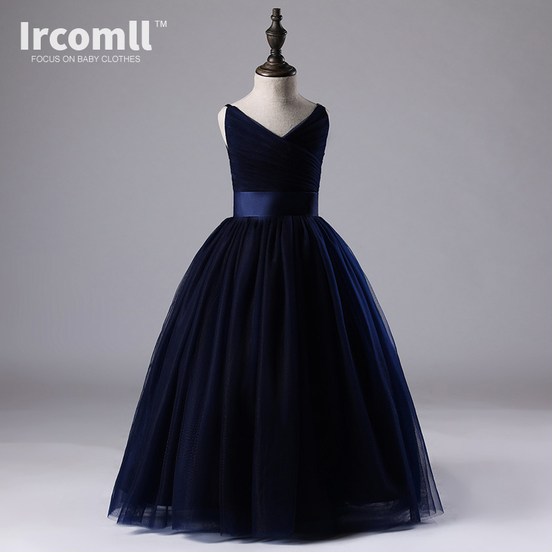 Ircomll Hight-end Elegant kids Dresses For Girls Formal Nary Blue A-line Dresses For Wedding Birthday Party Kids Clothing 5-14T nary
