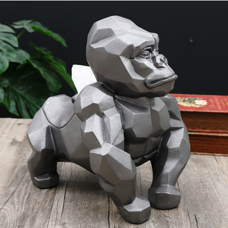 Creative Geometry Gorilla Tissue Holder Cassette Orangutan Paper Holder Pumping Tray Living Room Decoration Best Gift