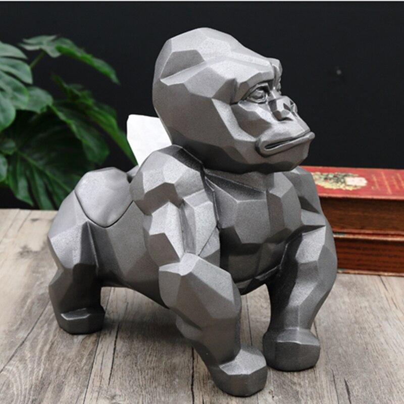 Géométrie créative gorille distributeur Cassette orang outan porte papier plateau de pompage salon décoration meilleur cadeau-in Figurines et miniatures from Maison & Animalerie    1