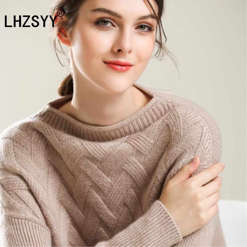 LHZSYY Fall winter New one word collar pure Cashmere Sweater fashion soft women's Sweaters solid color Loose pullovers thick