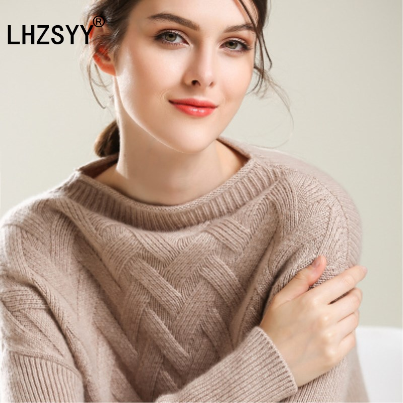 LHZSYY Fall winter New one word collar pure Cashmere Sweater fashion soft womens Sweaters solid color Loose pullovers thick