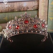 CC coronas tiaras diademas rojo diamantes de imitación vintage desfile estilo barroco accesorios para el cabello de boda para novias joyería de pelo HG803