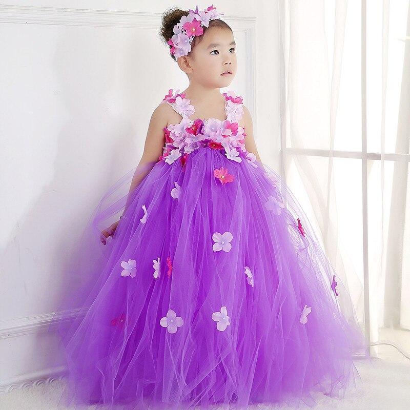 ФОТО Cute Flower Fairy Princess Dress Tulle Wedding Tutu Dress Baby Kids Birthday Party Prom Bridesmaid Flower Girl Dresses Costumes