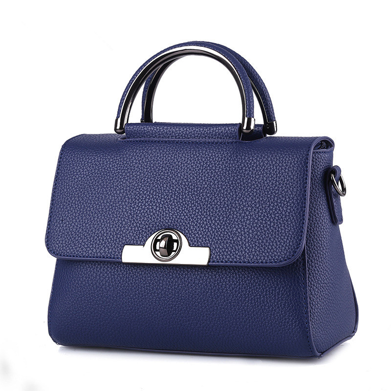 Fashion Cusual Royal Blue PU Women Handbag Tote Shoulder Bag Twist Turn Lock Crossbody Messenger цена