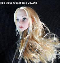 For collection 1/6 Scale Beauty Female Blonde Hair Anime Loli young little Girl Head Sculpt Fit For 12