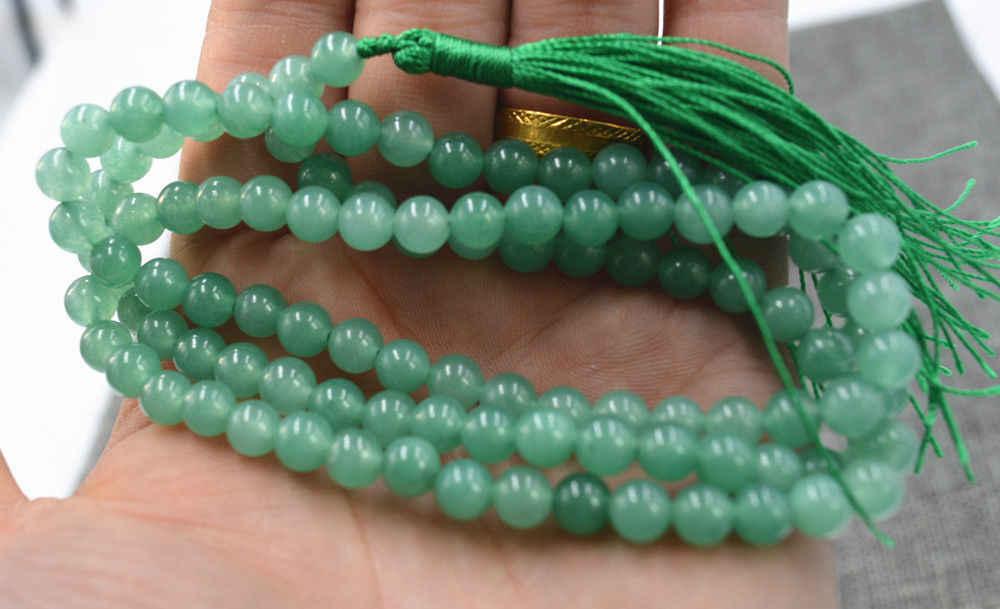 Envío Gratis nuevo 6mm piedra budista Aventurina piedra fina 108 cuentas de oración collar pulsera Mala