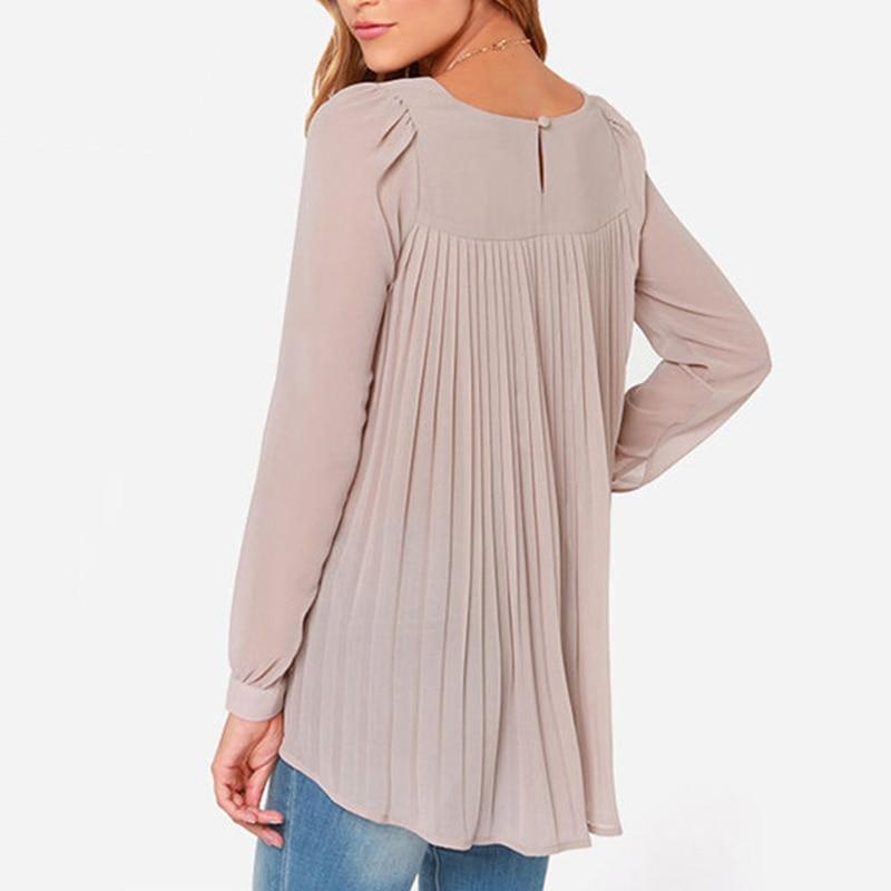 2015 New Fashion Women Blouse Ladies Office Shirts European Style Chiffon Blouses Long Sleeve