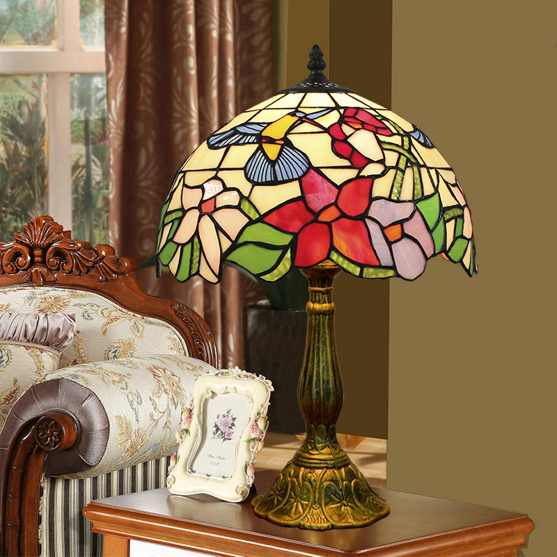 ODIFF European Pastoral bird bar lighting Living room dining Bedroom bedside Childrens room stained glass Desk Lamp E27 E26 LED