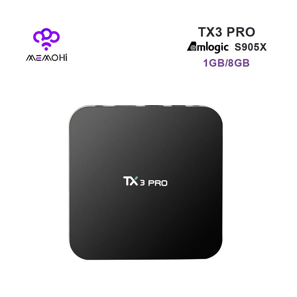 Prix pour MEMOBOX TX3 Pro Android 6.0 TV Box Amlogic S905X Quad Core UHD 4 K Médias DDR3 1 GB mem 8 GB KODI DLNA Miracast Set-top boîte