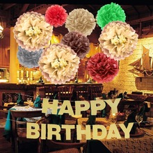Gold Glittering Birthday Party Decorations  Happy Banner Brown Pompom Flowers Chic Supplies 10pcs/set