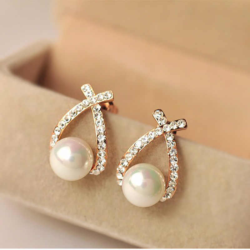 Gold Crystal Stud Earrings Female Pendientes Imitation Pearl Earring Woman Cubic Zirconia Rhinestone Fashion Jewelry Accessories
