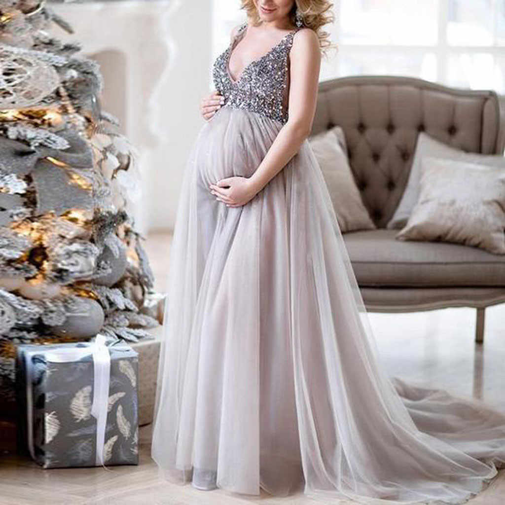 48aabc2636d9c8 FEITONG Sexy Women Pregnant Sling V Neck Sequin Cocktail Long Maxi Prom  Gown Dress female summer