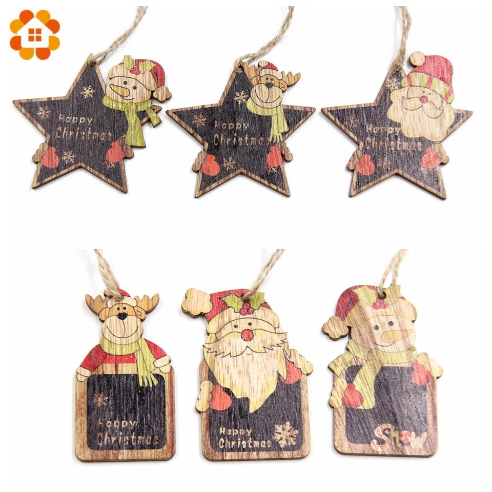 Hot Sale 6pcs Cute Christmas Wooden Pendants Ornaments Diy Wood