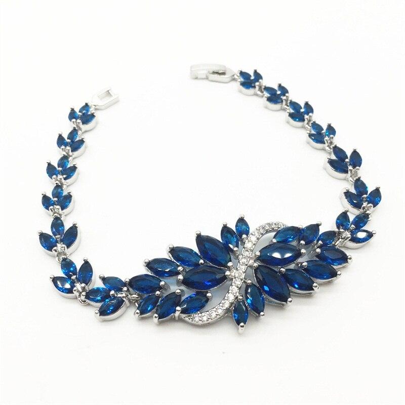 Brilliant Montana Rhodium Plated Women Fashion Bracelets Cut Montana Marquise Shape Aaa+ Zircon Chain Bracelets