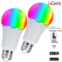 Smart Wifi Led Lamp 7W E26 E27 16 Million Color Stage Lamp Compatible with Alexa Google Home Phone App 60W Equivalent 2PC