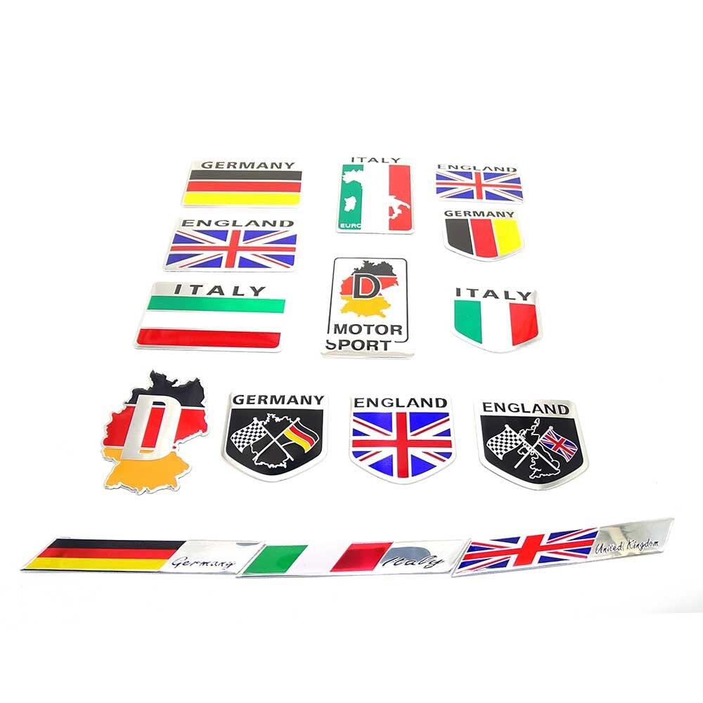 Hot Sale England Germany Italy Flag Shield Quality 3d Aluminum Car