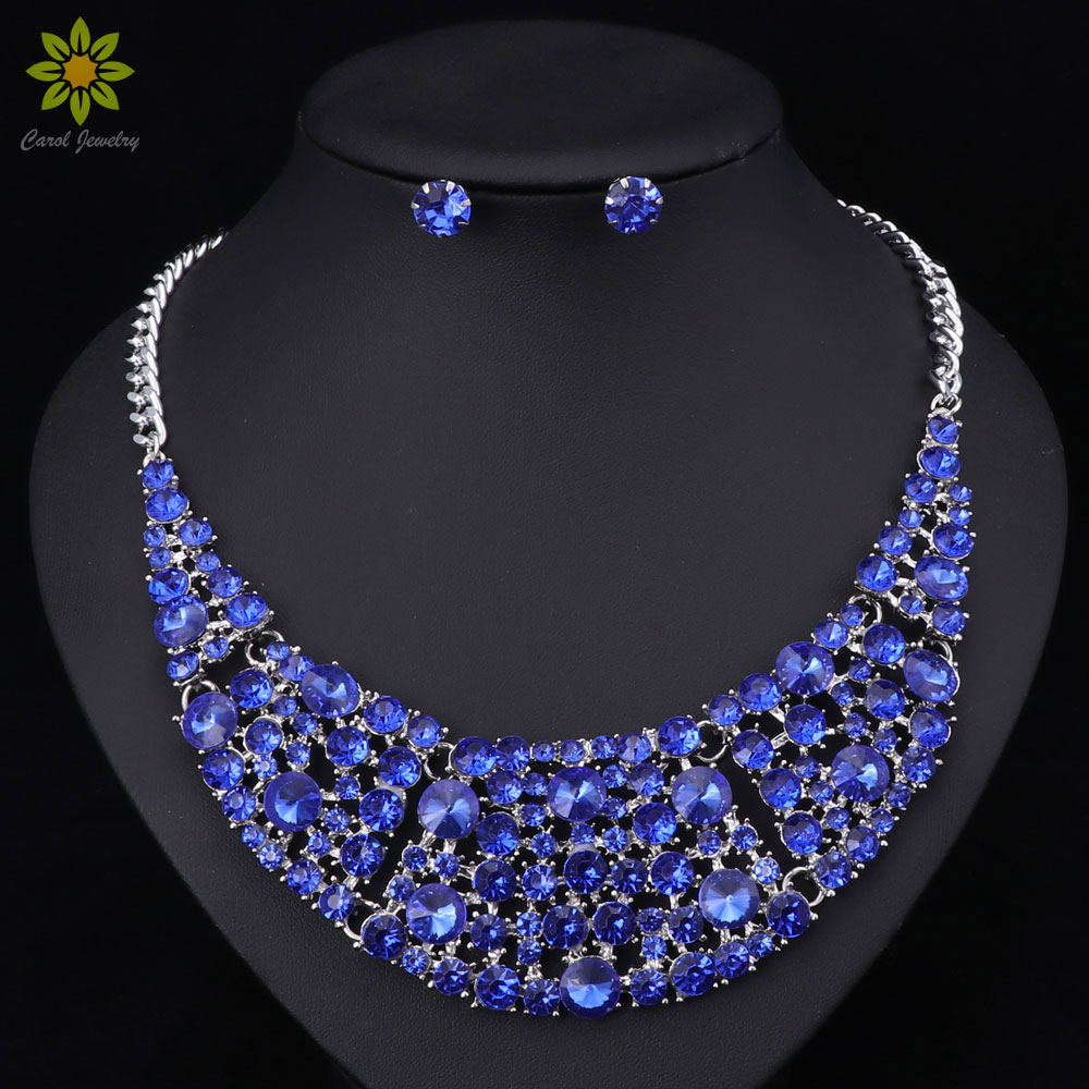 Fashion Dubai Rhinestone Bridal Jewelry Set Wedding Prom Party Accessories  Silver Plated Necklace Earring Set For